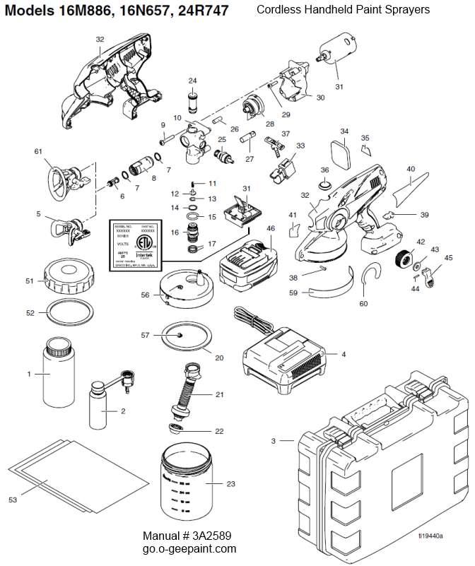 Handheld Sprayer Parts : O gee paint truecoat pro ii cordless
