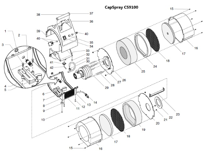 CapSpray CS9100 parts as such there are